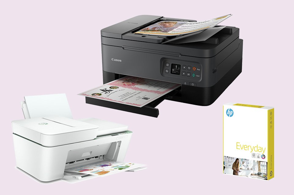 Two printers and a pack of A4 printer paper.