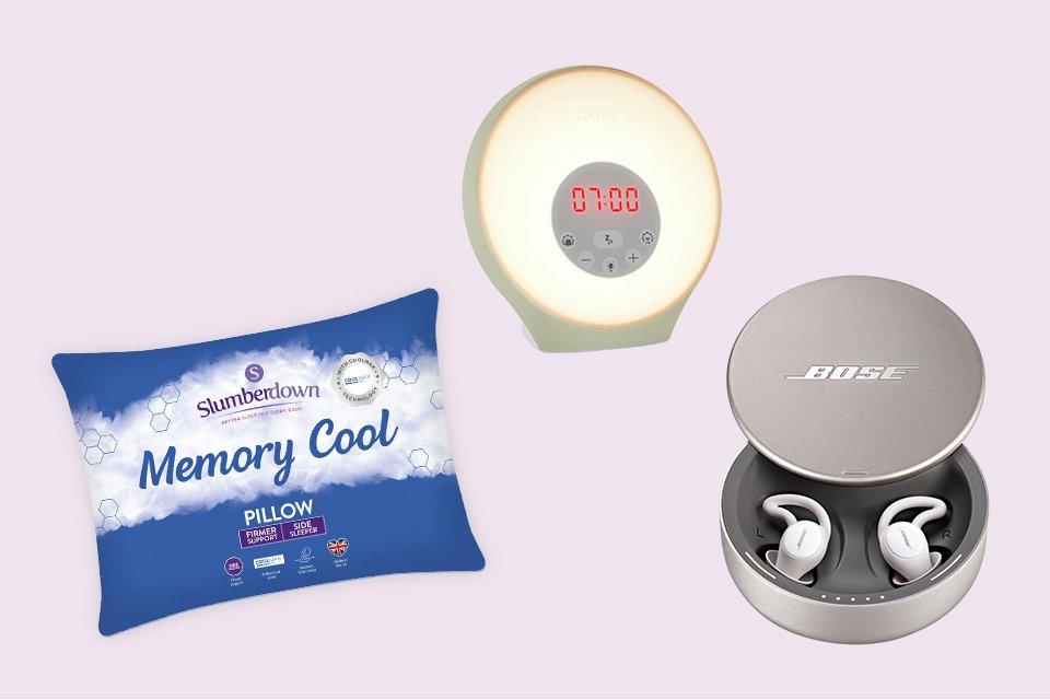 Light up alarm clock, Bose sleep headphones and a memory foam pillow.
