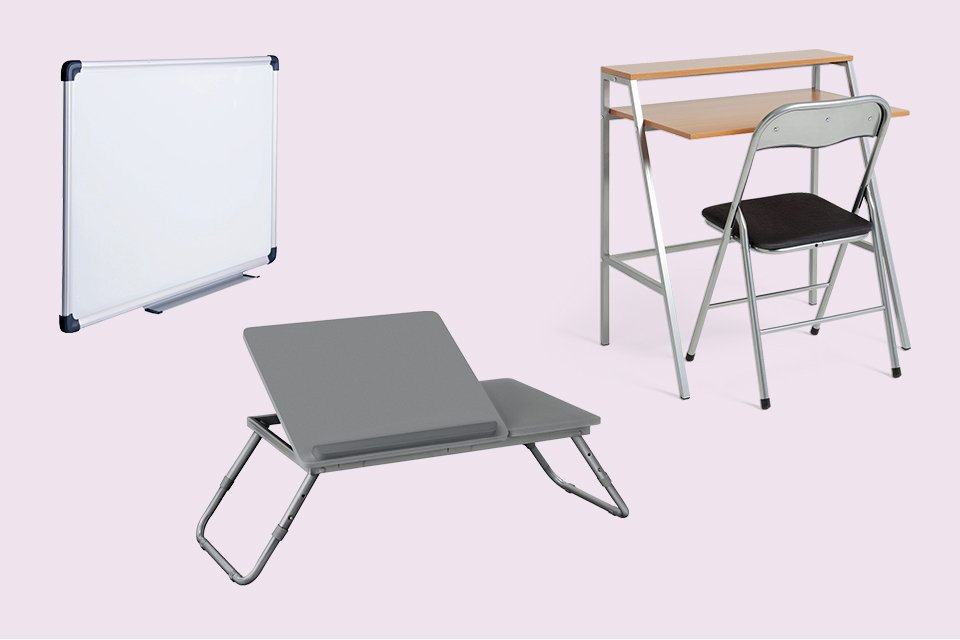 Whiteboard, laptop tray and office desk and chair set.