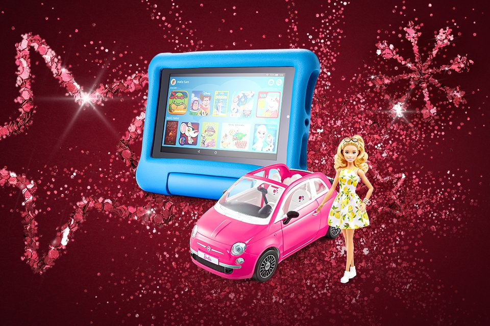 A Barbie playset and a Star Wars Lego® set in front of a pink glittery background.