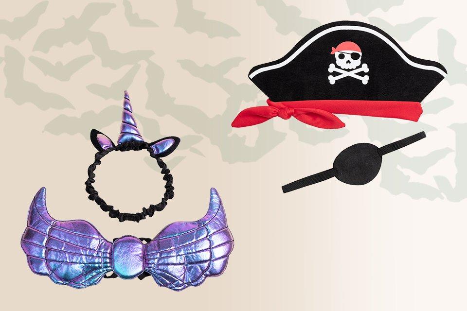A pirate hat alongside a unicorn headband.