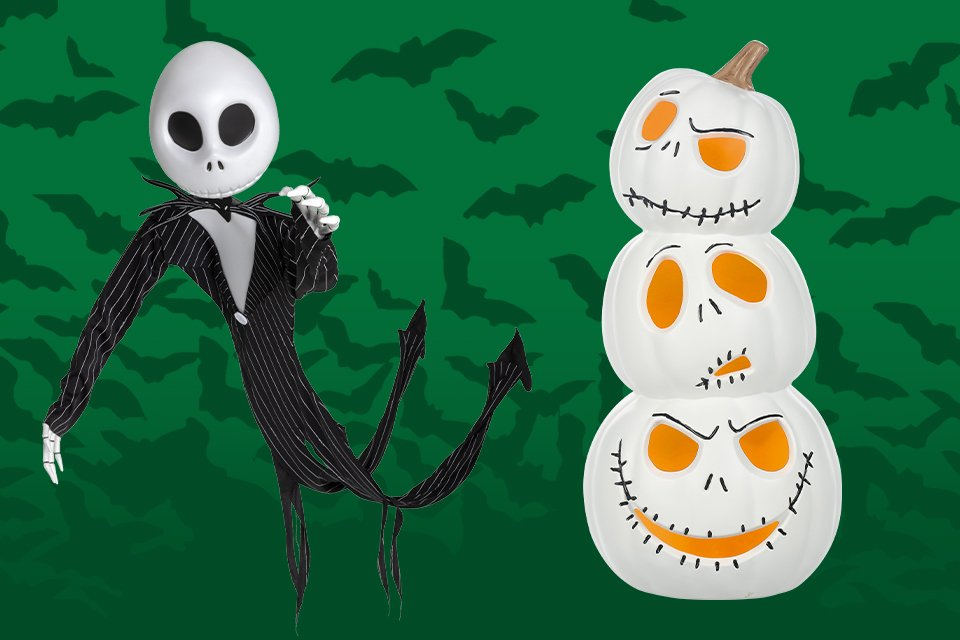 A Jack Skellington decoration alongside some Jack Skellington stackable pumpkins with various facial expressions.