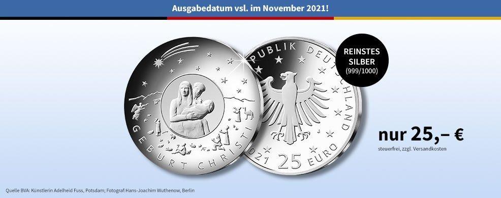 MDM - 25-Euro-Silber-Gedenkmünze 2021 Weihnachten – Geburt Christi