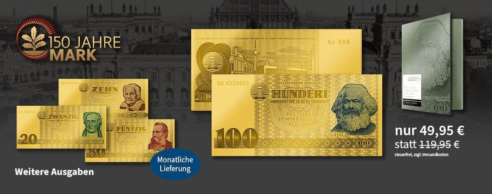 MDM - Numismatische Weltpremiere: Die 100-Mark-Banknote der DDR in reinstem Gold - Start in die Deutschen Gold-Banknoten