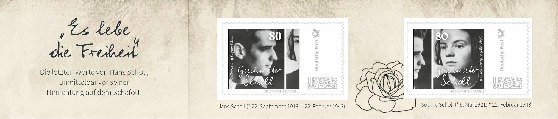 """Zum 100. Geburtstag von Sophie Scholl - Streng limitierte Klappkarte """"Geschwister Scholl""""!"""