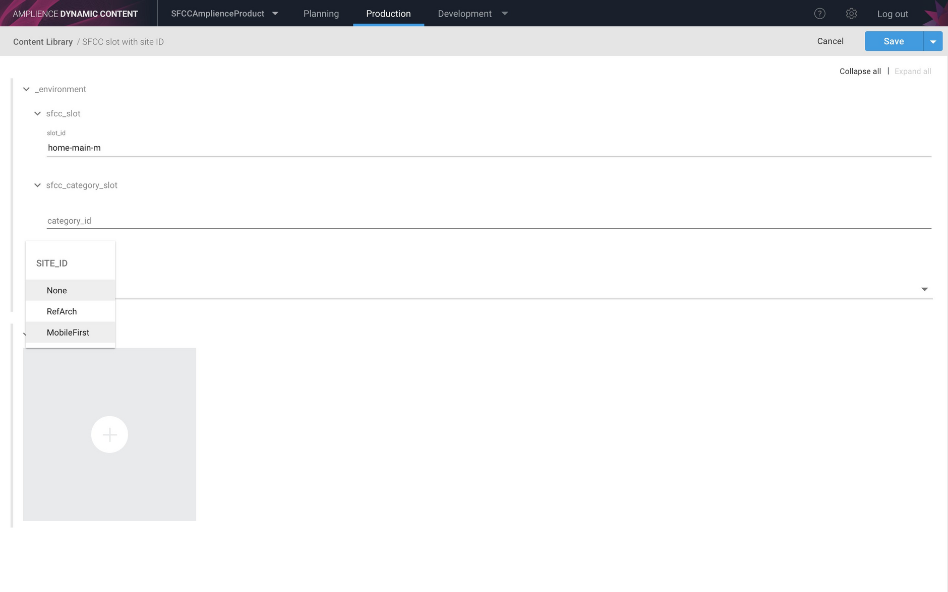 Creating a slot with a SFCC site id