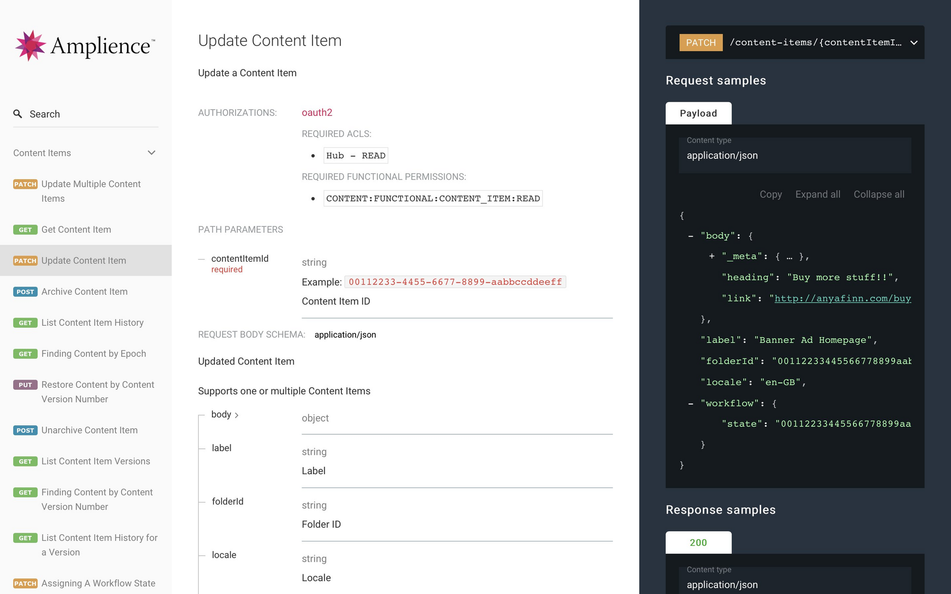 The new API docs feature improved navigation and clearer request and response sections for each API