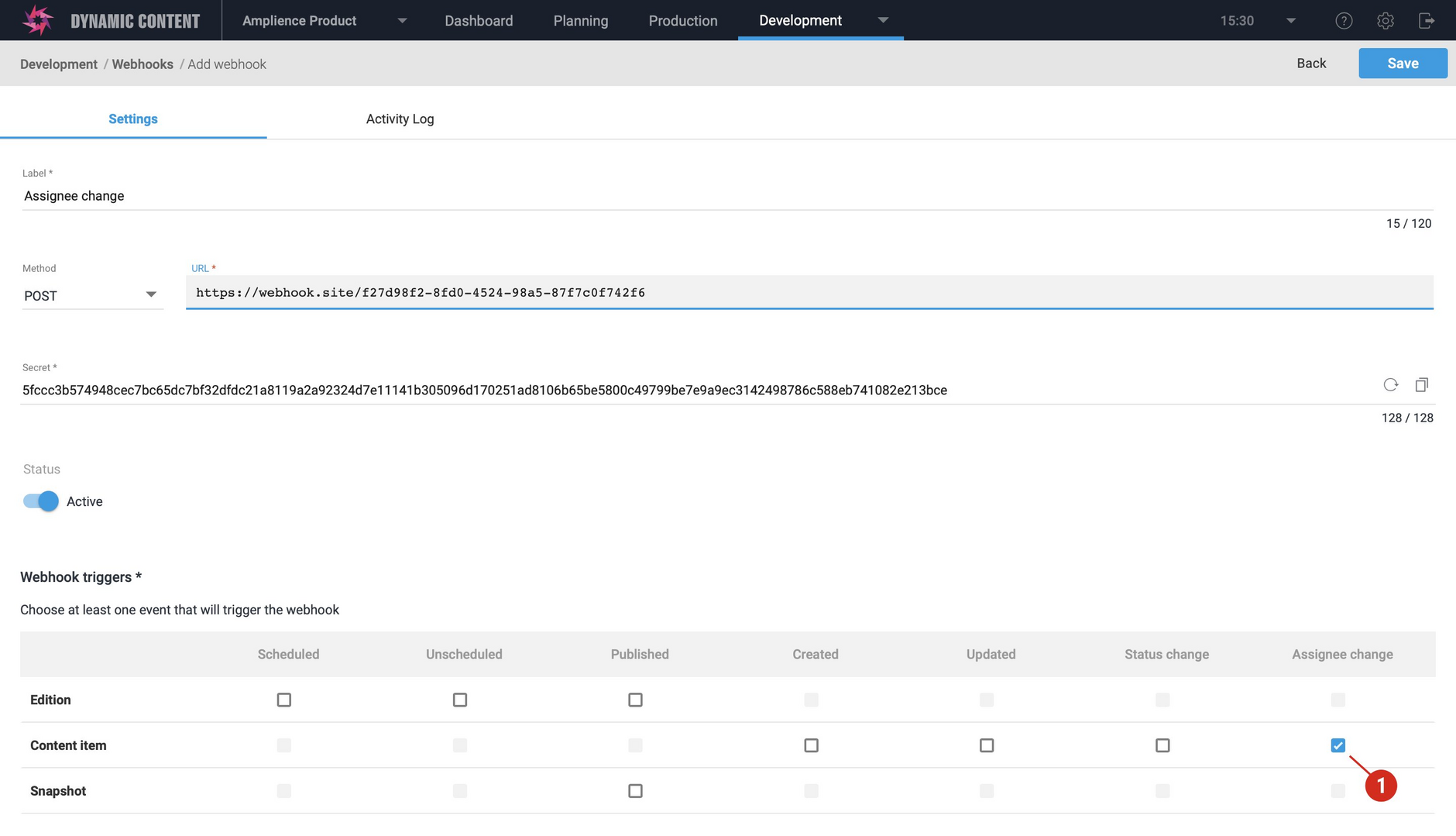 The content item assignee changed webhook event is triggered by adding one or more assignees to a content item or changing the existing assignees