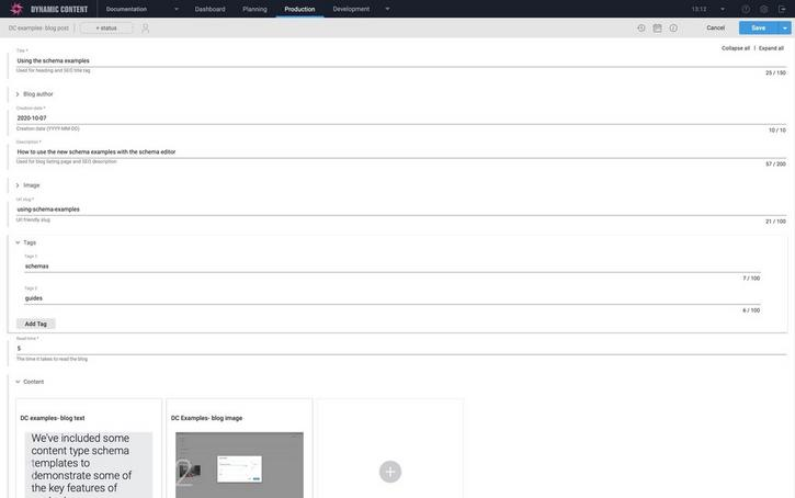 Adding a content item from the blog post example schema
