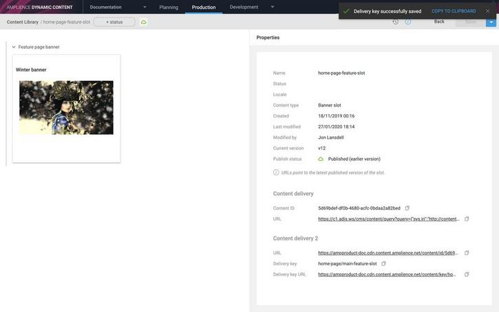 The content item properties pane now includes a Content Delivery beta section
