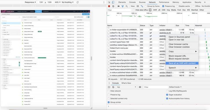 Saving a HAR file in Google Chrome