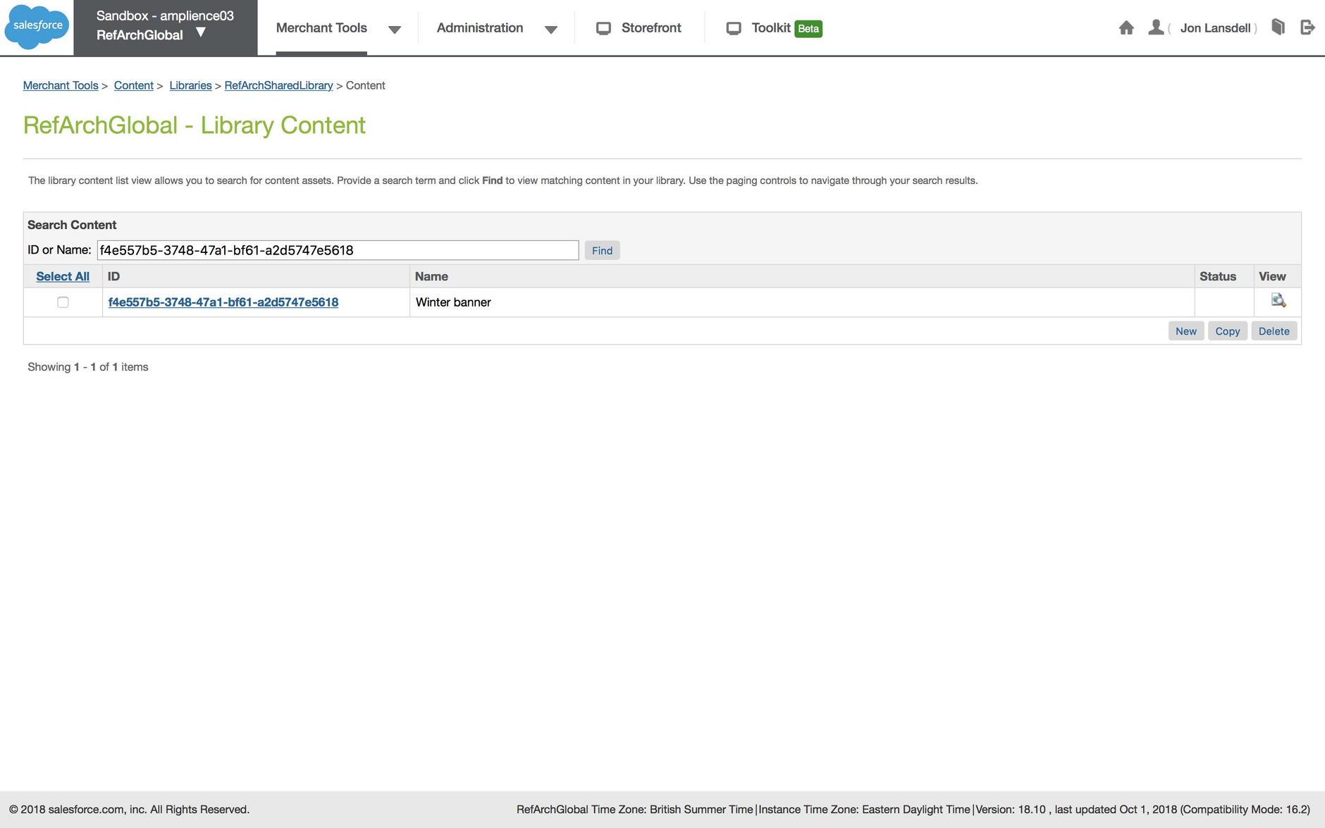 Searching for the content asset using the content ID