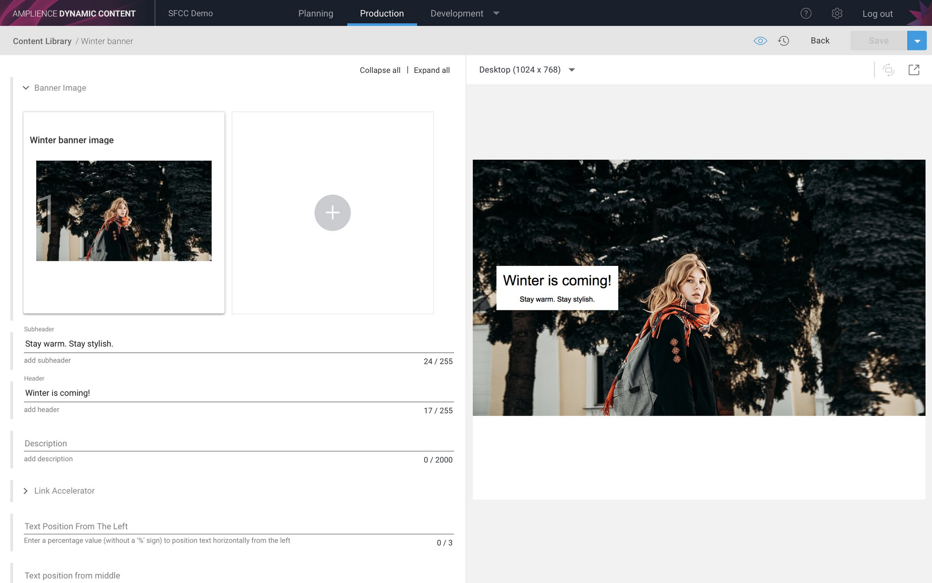 An example banner content item in Dynamic Content