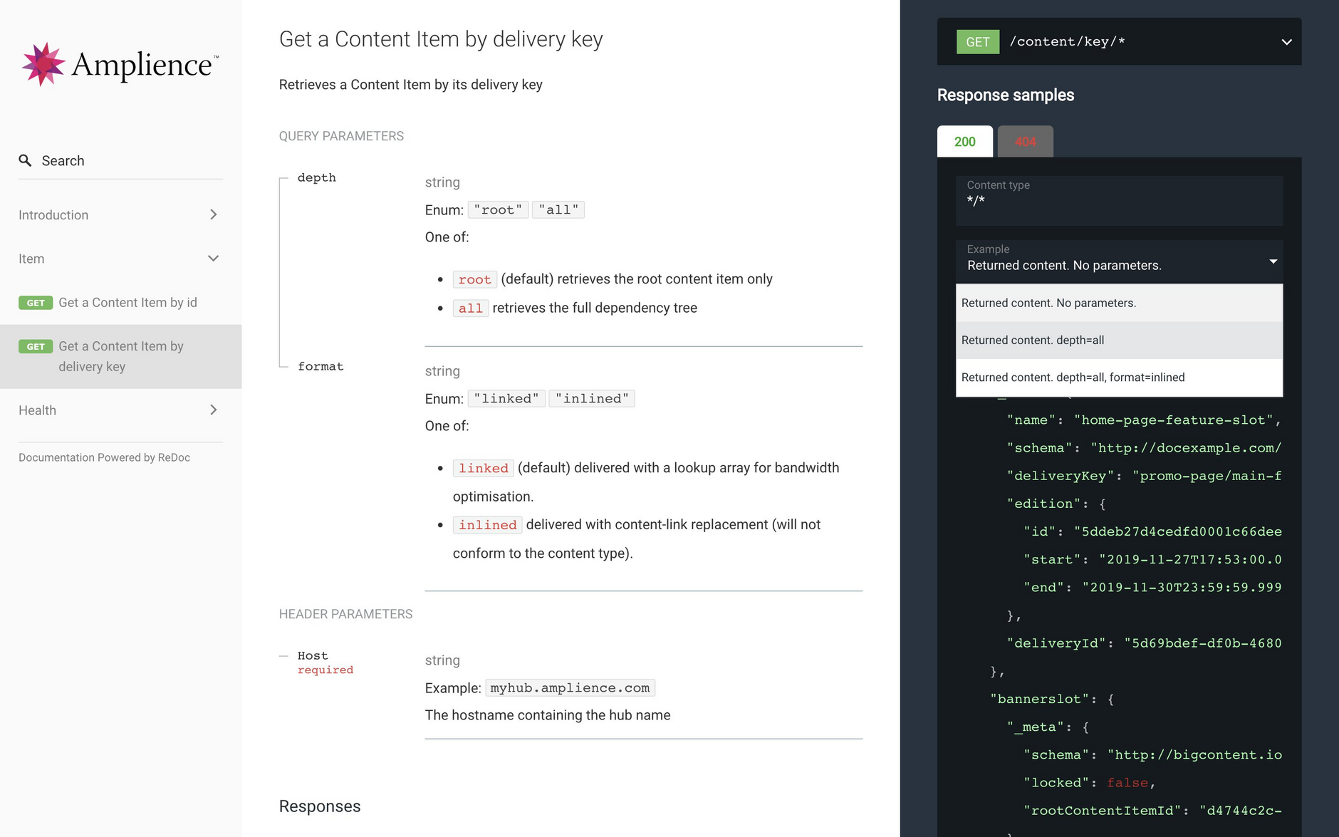 The content delivery 2 API reference includes parameters, responses and sample returned content