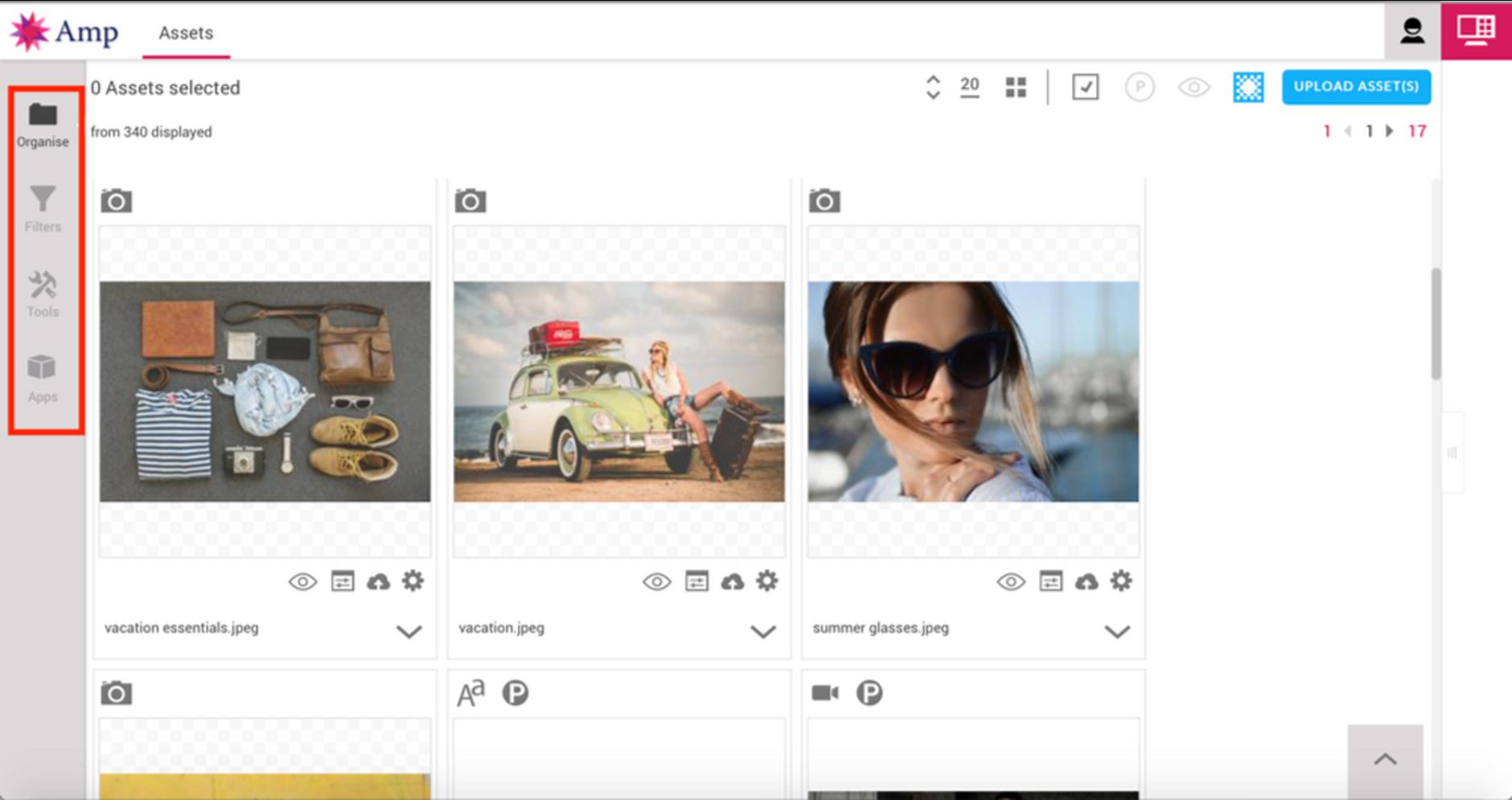 The main Content Hub screen