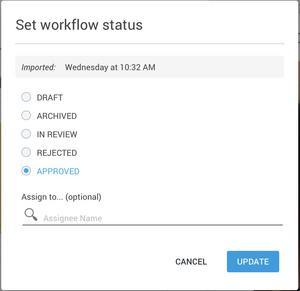 Setting asset workflow status