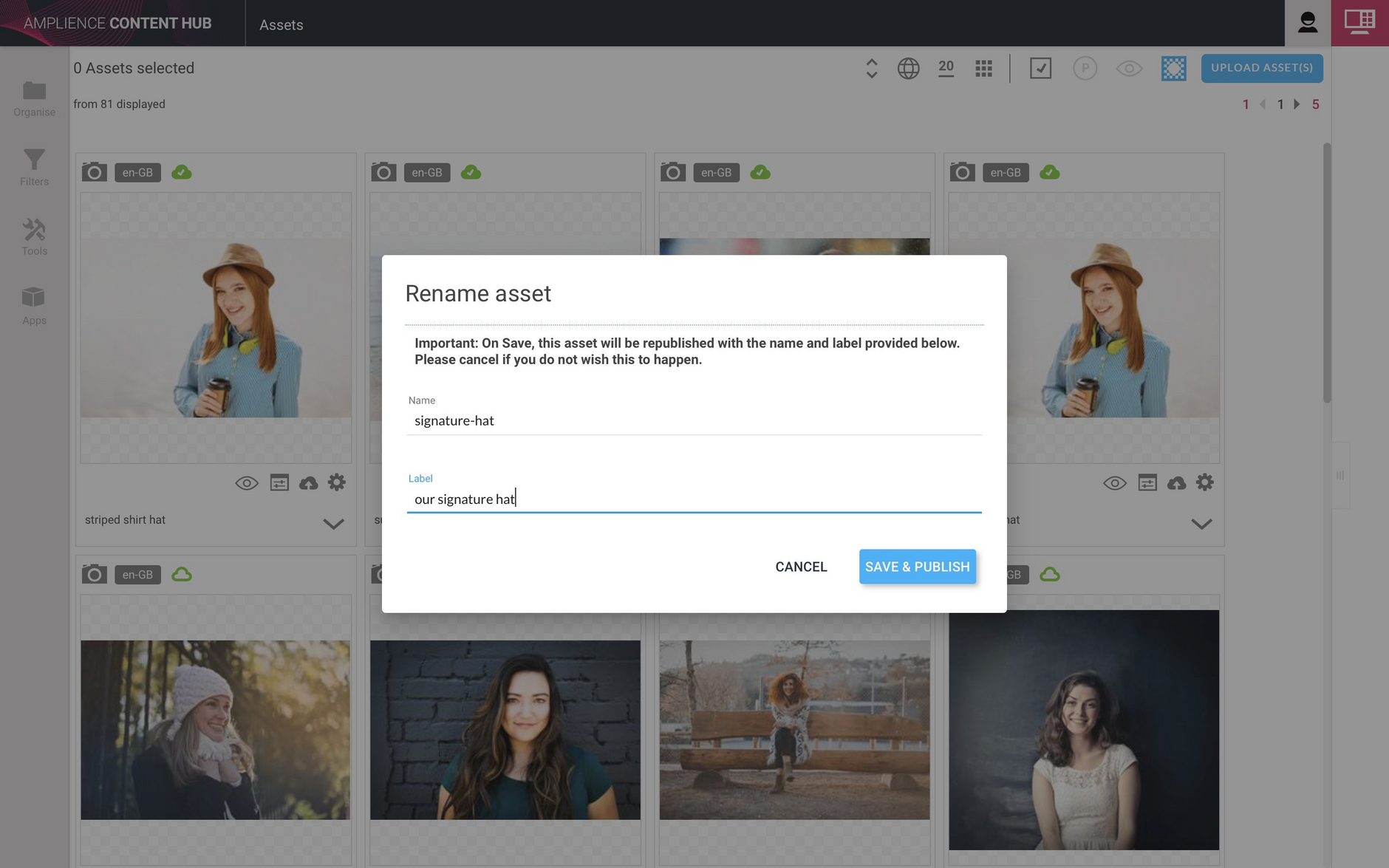 You can enter a new name and label. Click Save and publish to publish the asset with its new name