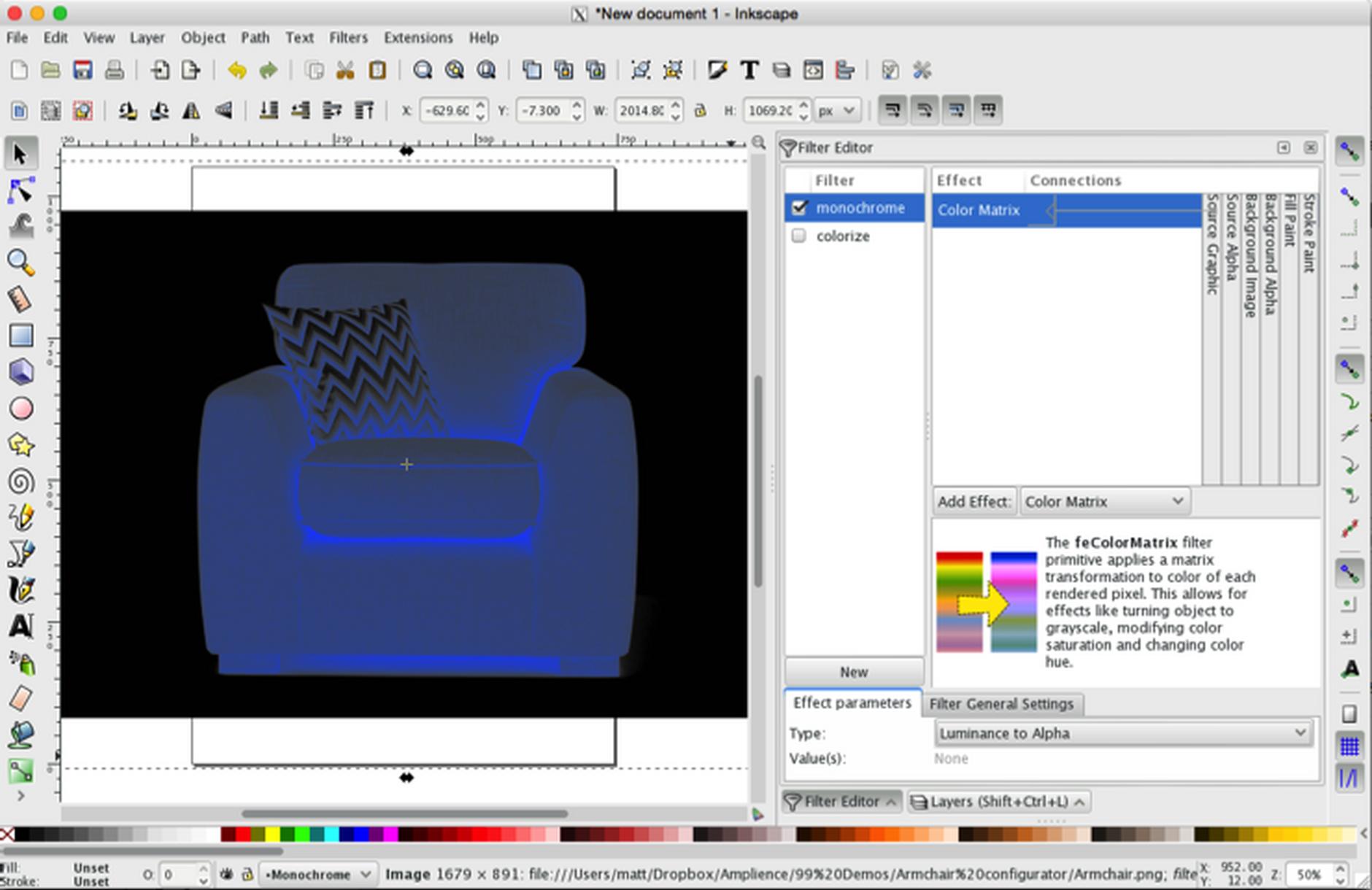 Adding the color matrix effect