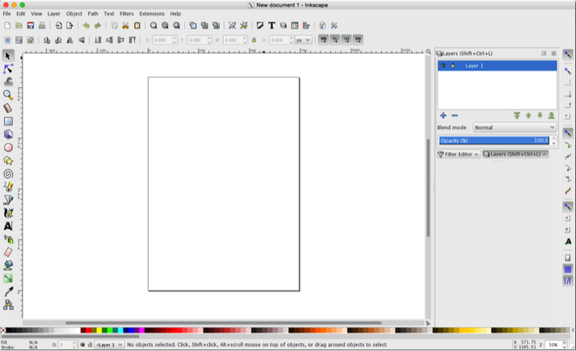 The initial screen in Inkscape