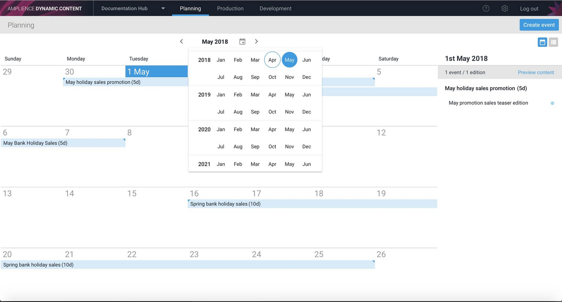 Date selection in the planning view