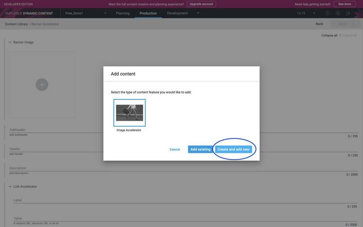 Choose to create and add a new image accelerator content item to the banner