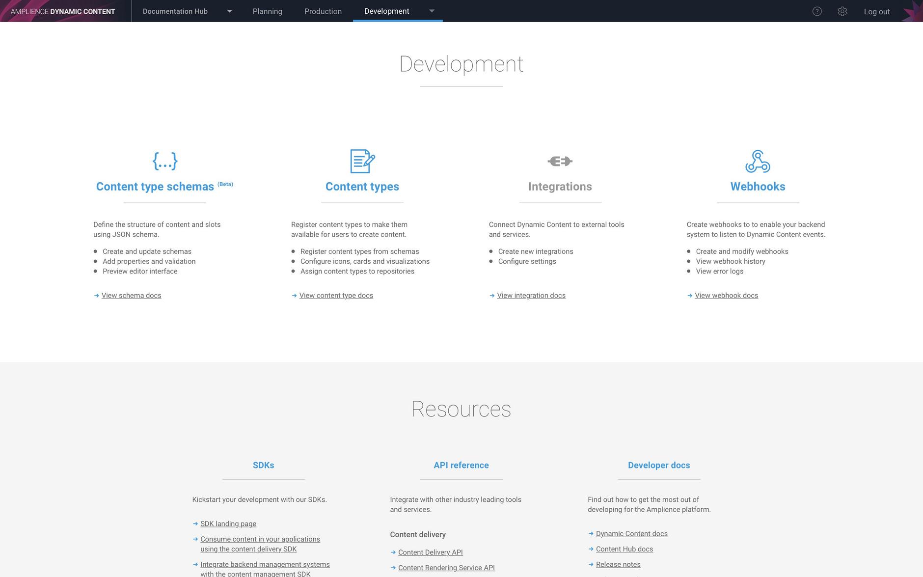 The development landing page