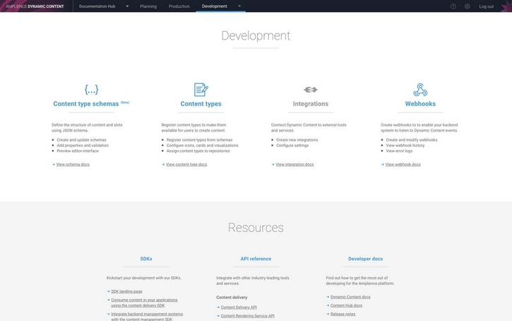 The development landing page