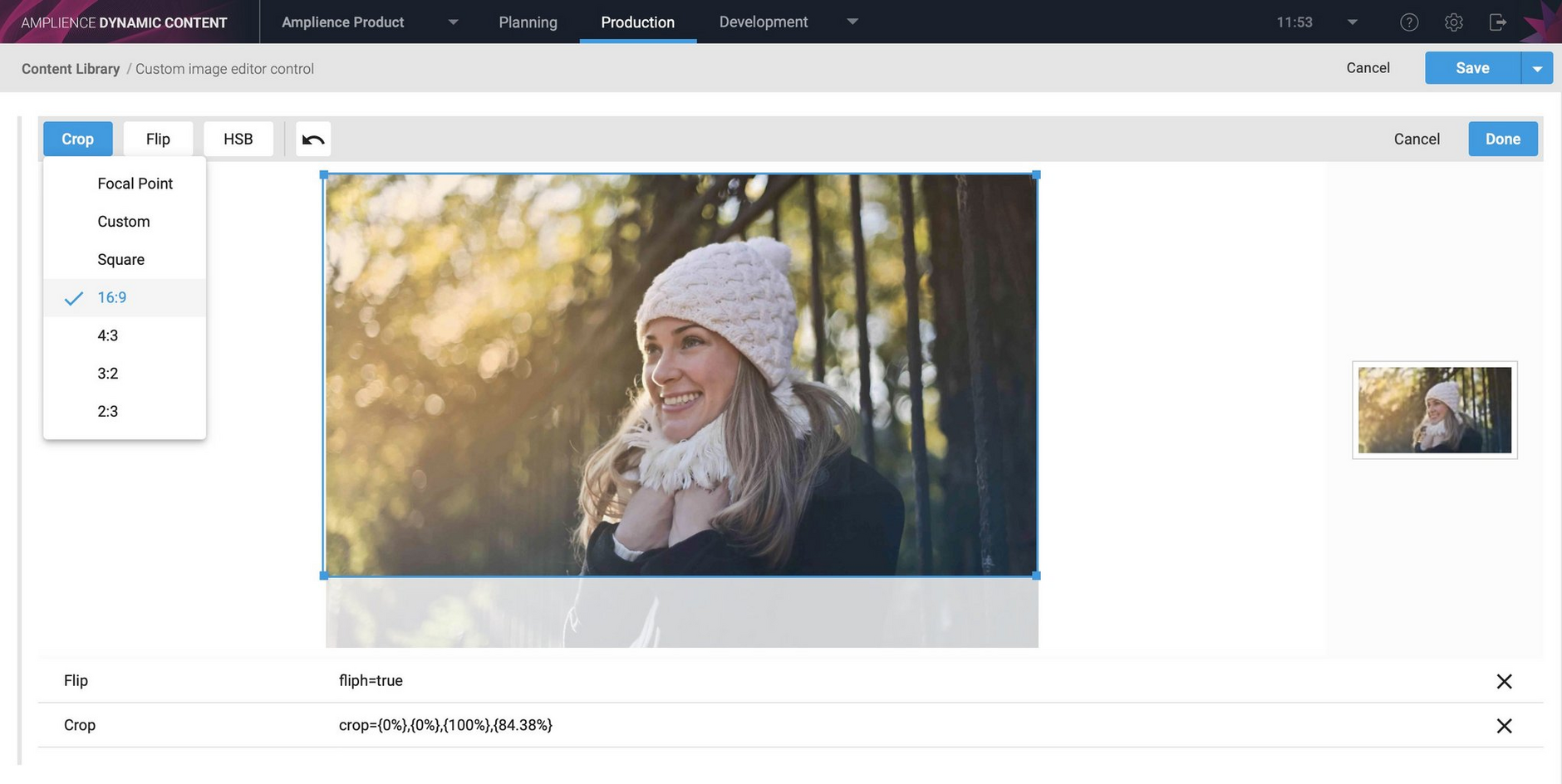 The image transformation extension allows users to choose Dynamic Media parameters that will be used to transform an image in a content item