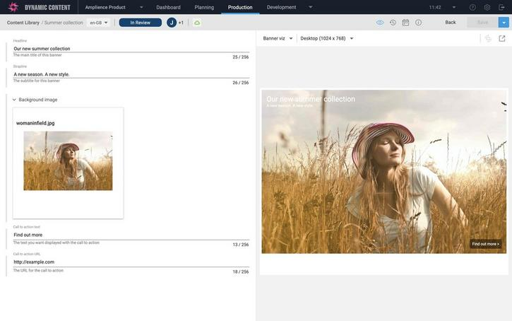 The content editing window is opened for the summer collection content item