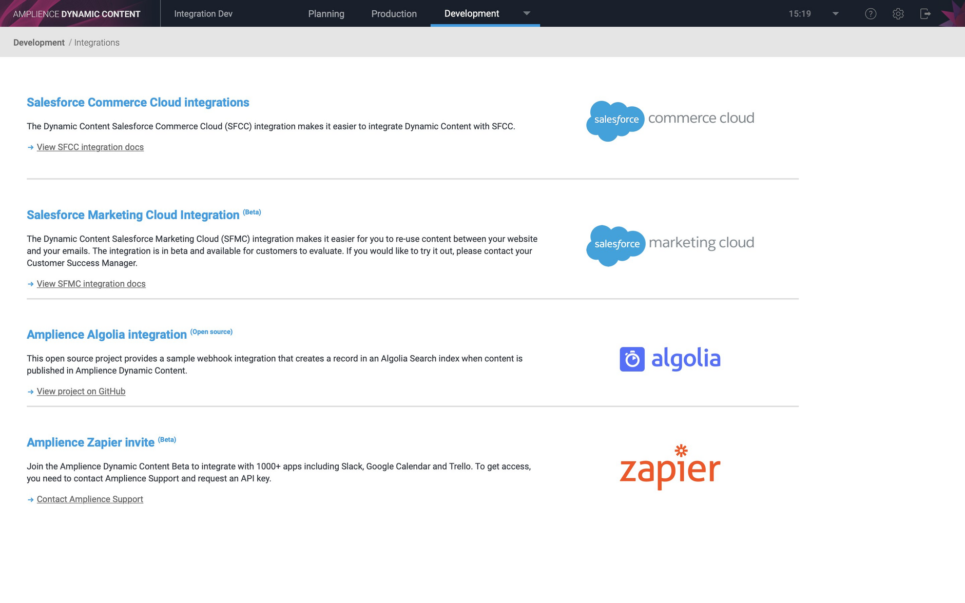 The integrations home page has been updated to provide easy access to information about the SFMC and Algolia integrations
