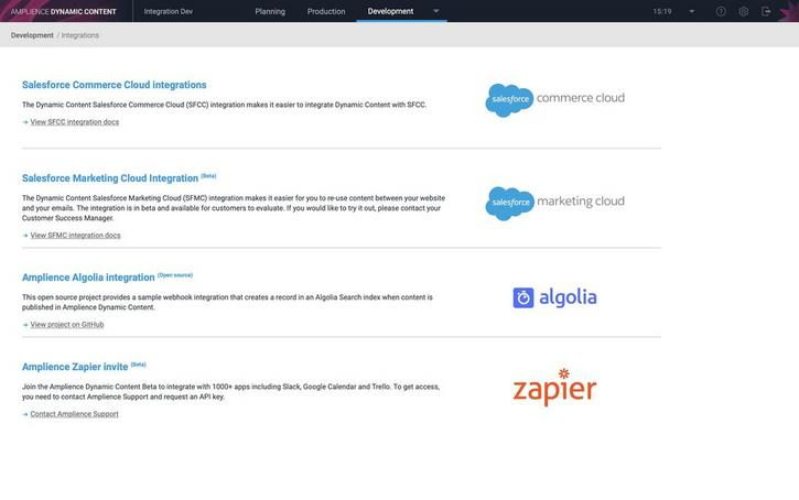 The integrations home page