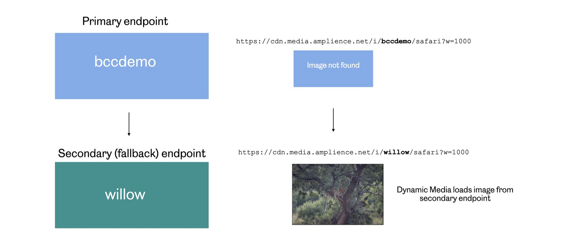 Willow is configured as the secondary endpoint for bccdemo