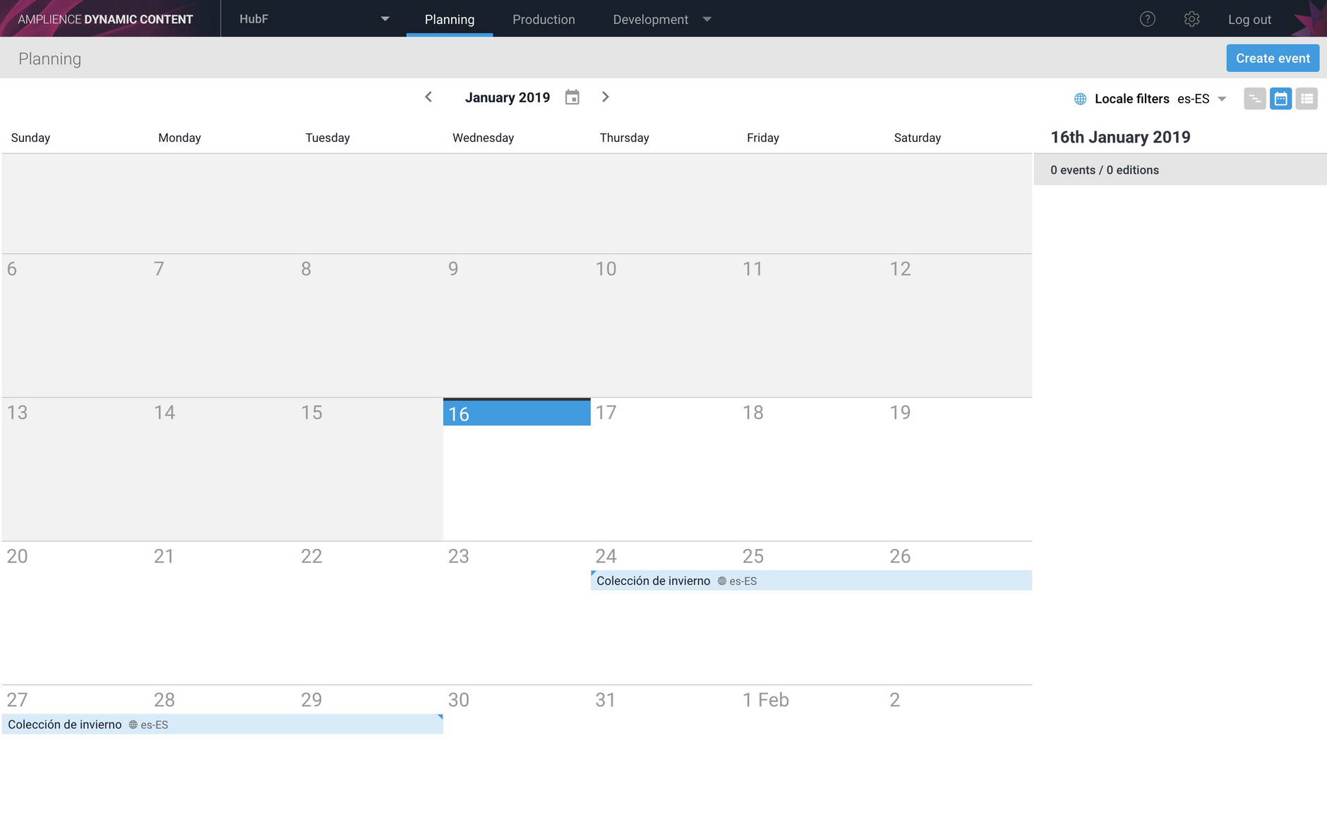 Locale filtering is also available in the calendar and list views