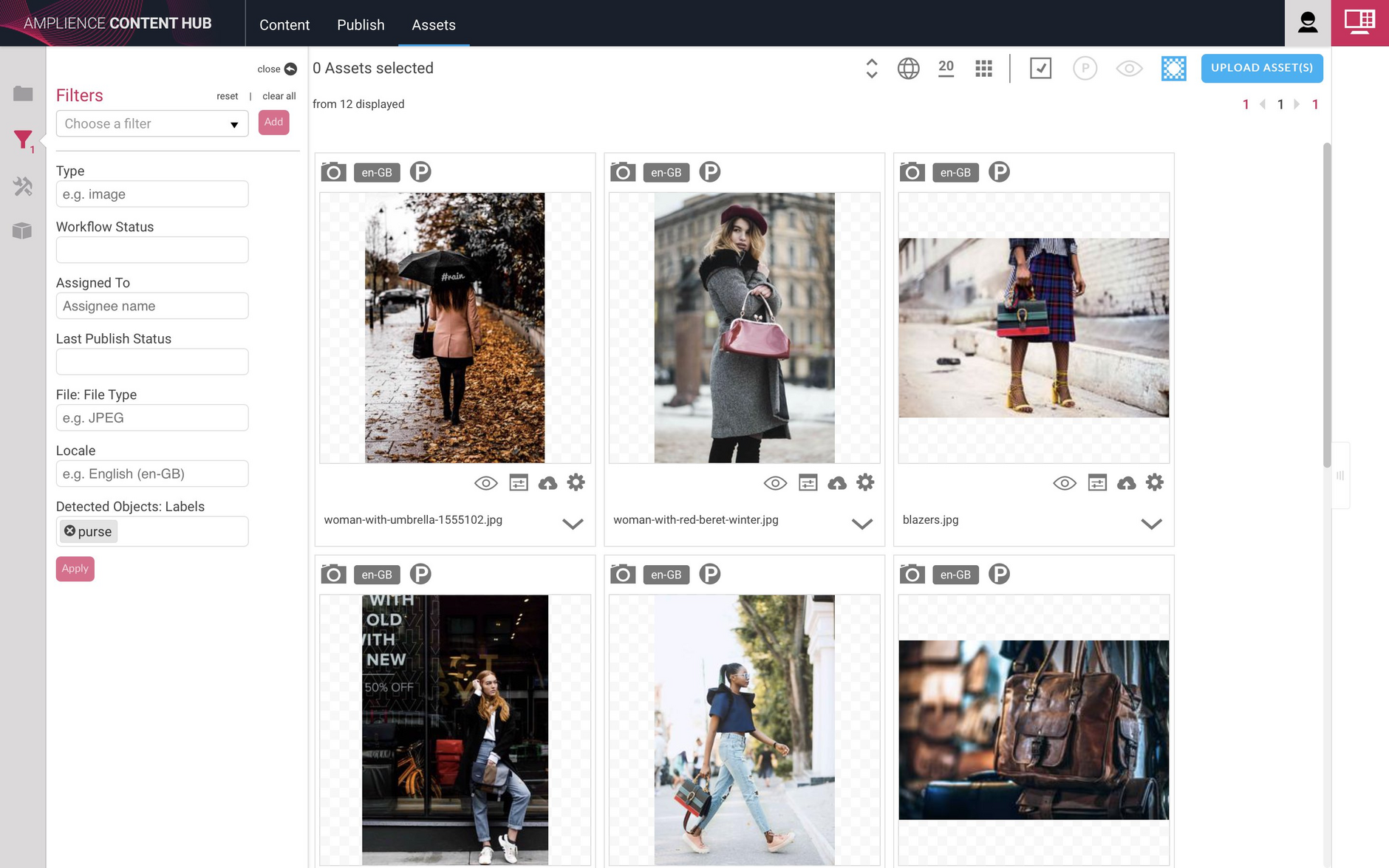 Filtering on those images containing a purse