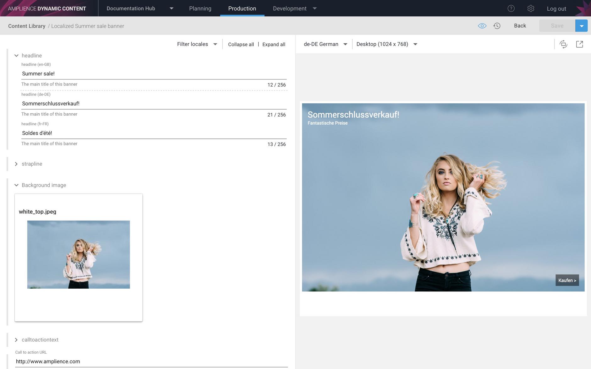 Visualizing the content item using the de-DE locale