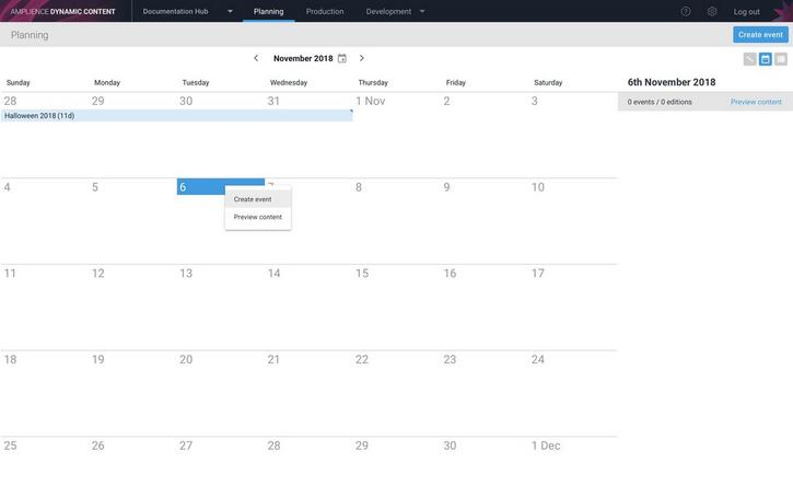 Events are created from the calendar, list or timeline views