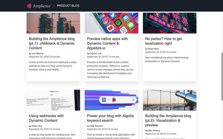 The Amplience product blog provides a mixture of developer and practitioner content from the product and engineering teams