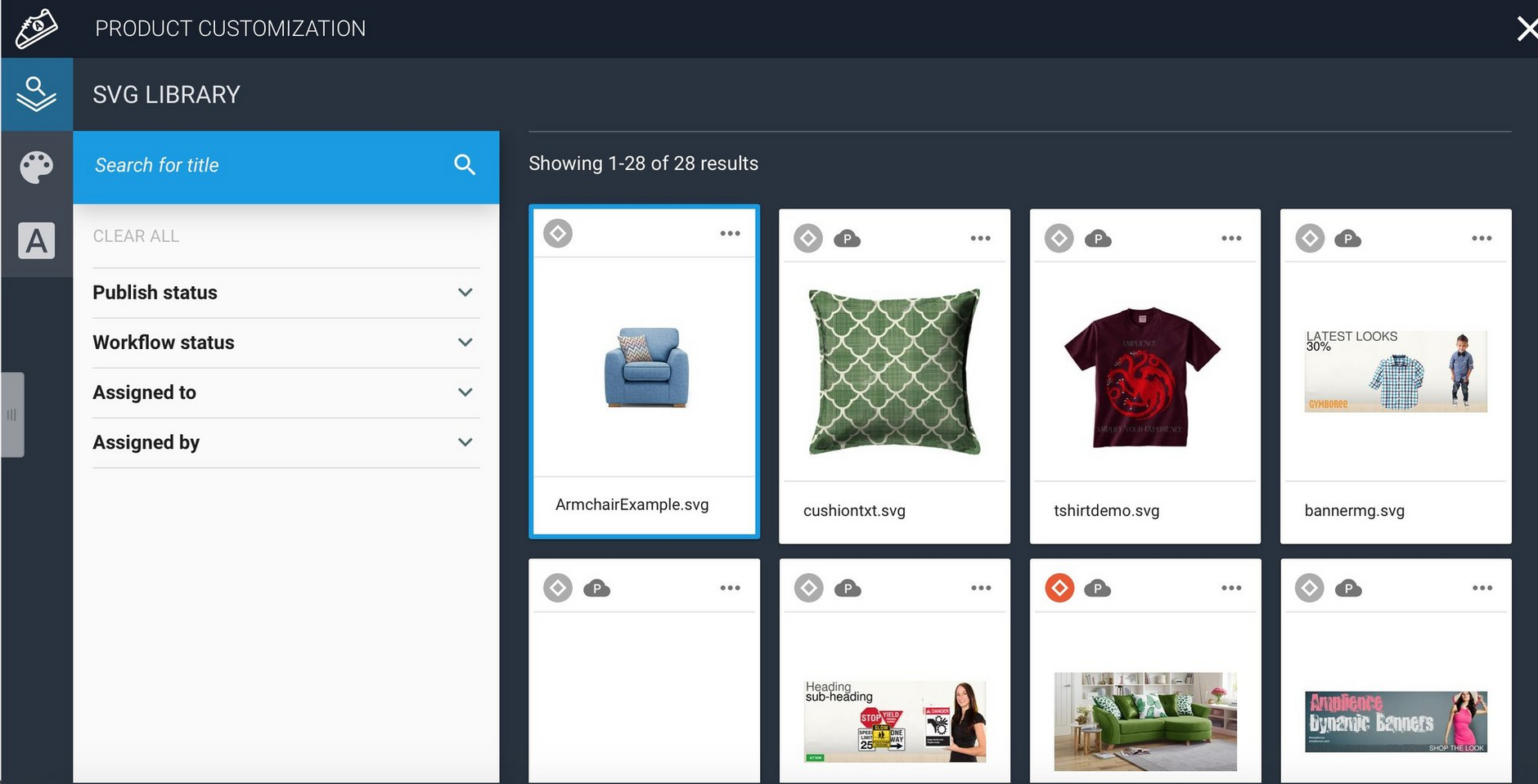 The SVG library in the product customization app