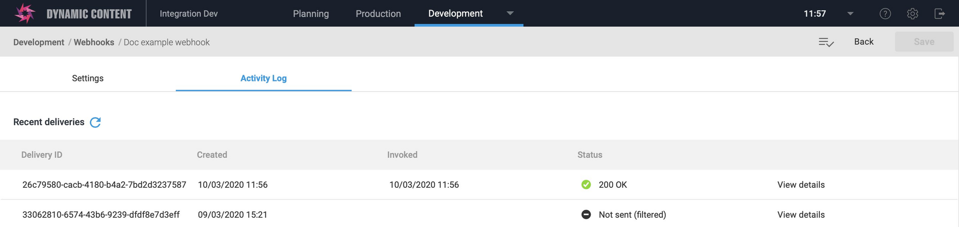 The recent deliveries list is updated and shows the new webhook delivery