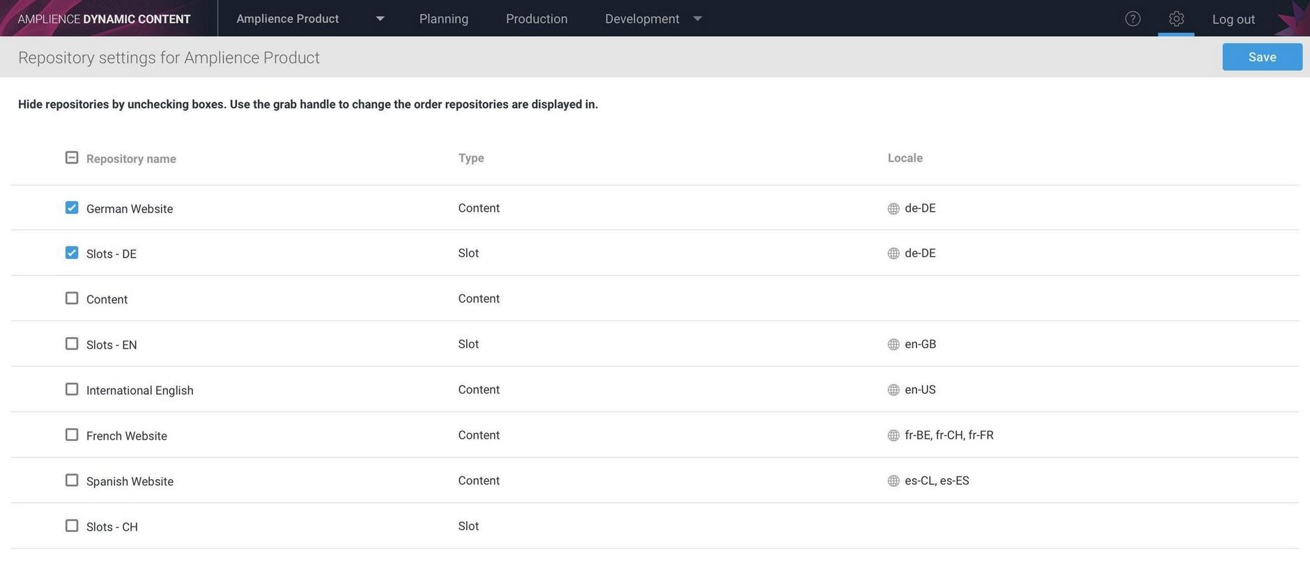 The repository settings window