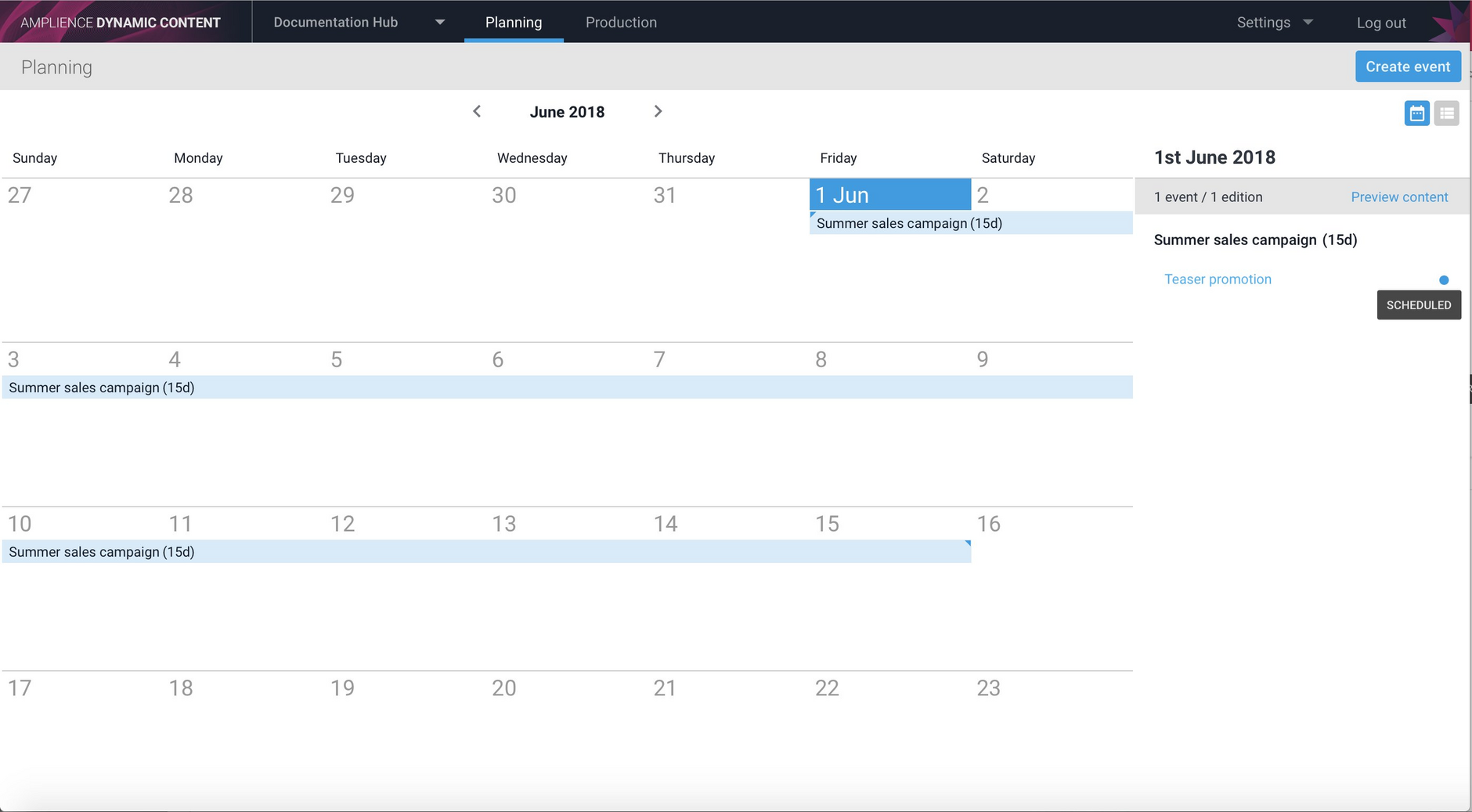 Edition scheduled status in the calendar view