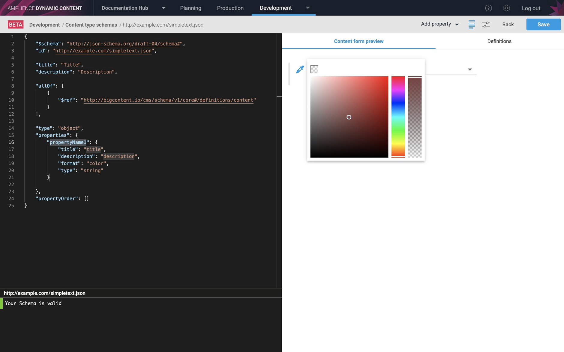 The color picker is shown when the property is previewed