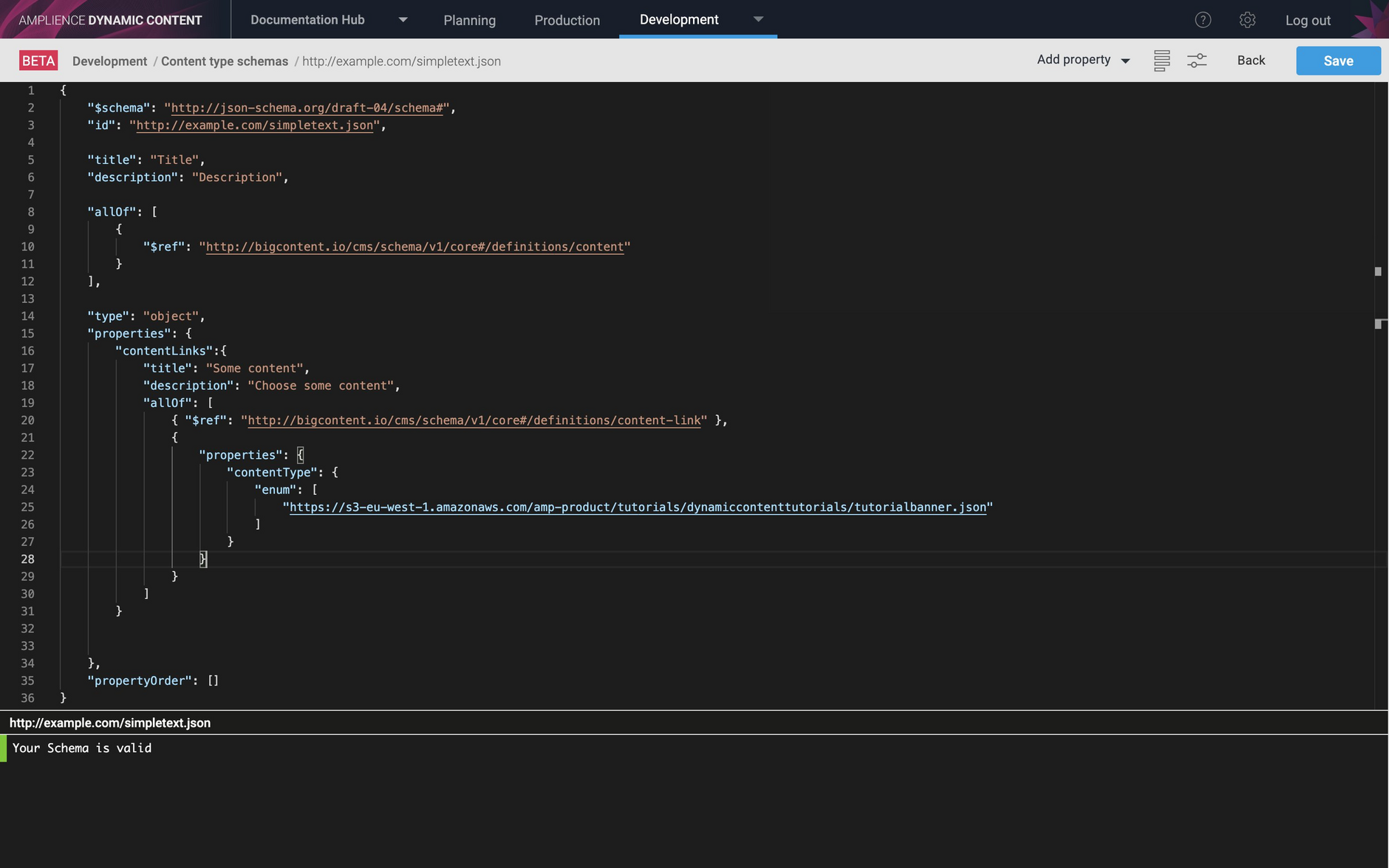 The selected content type URI is added to the schema editor window