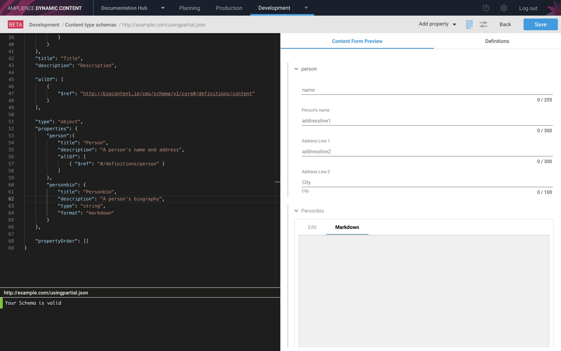 Previewing the content type schema including the person definition