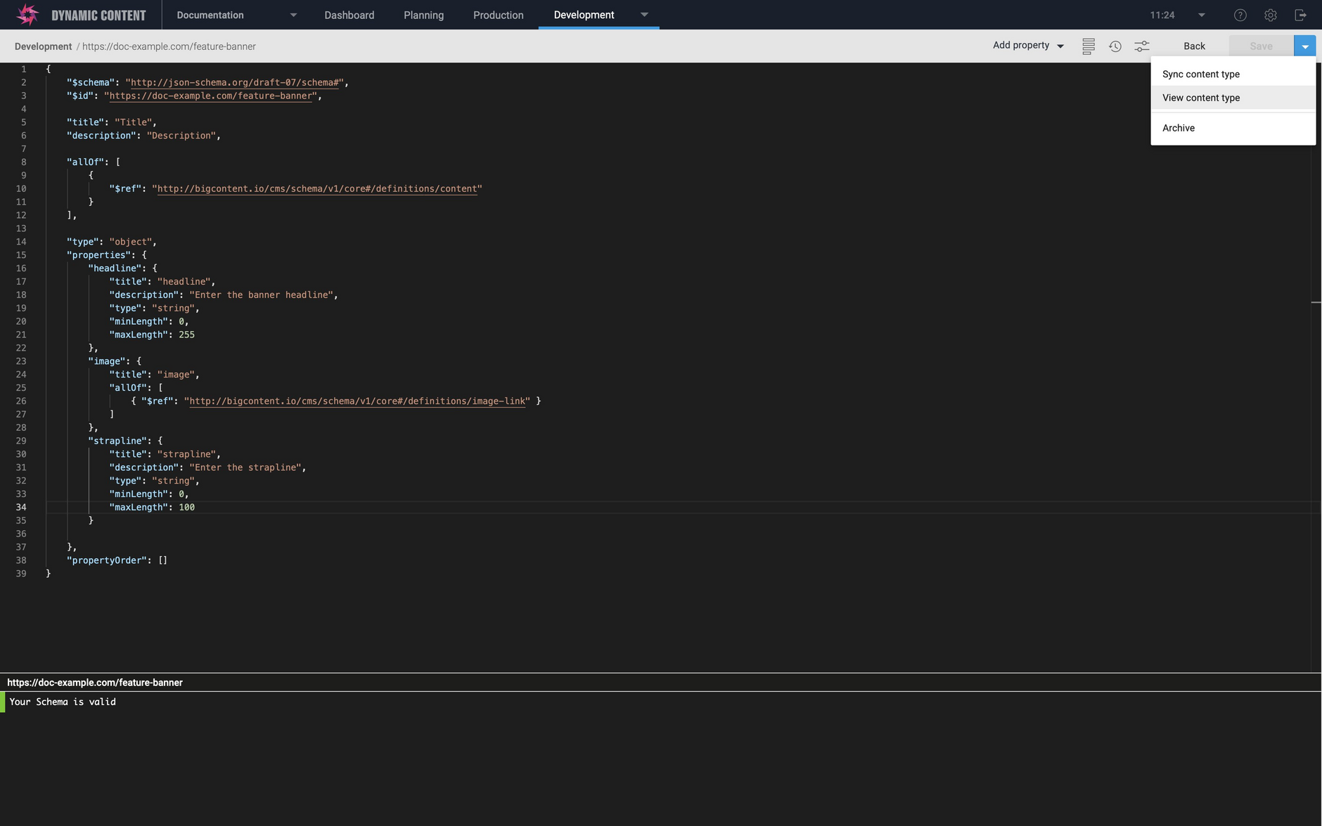You can now open the content type window from the schema editor