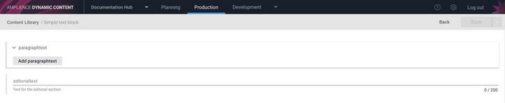 Creating a text block content item