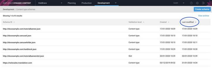 You can now sort the schema list by creation date, modification date and validation level