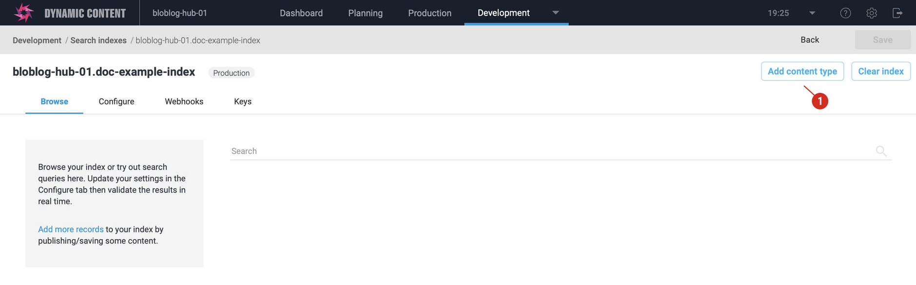 Once an index is set up, you can add additional content types to it