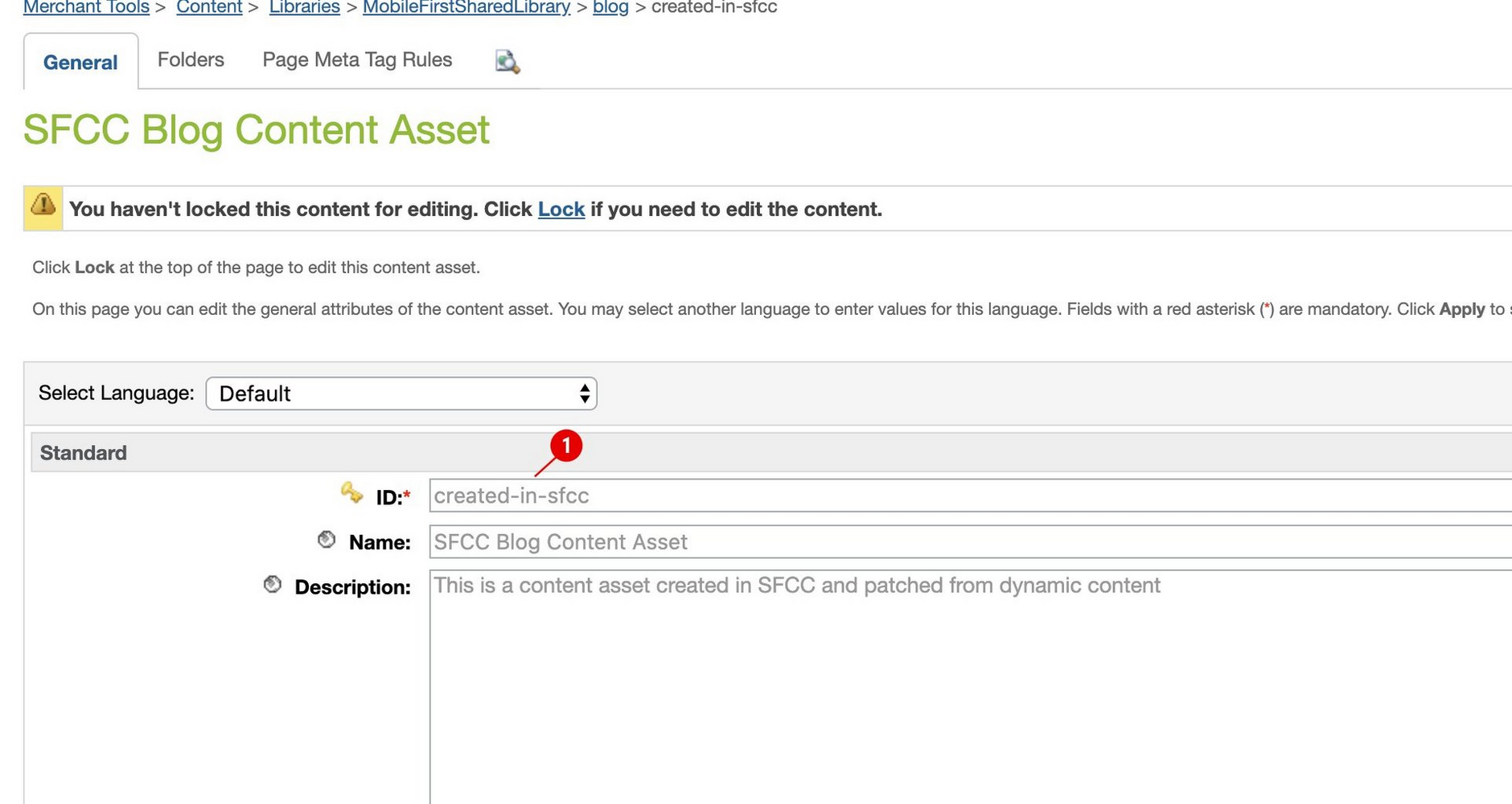 A content asset created in SFCC Business Manager