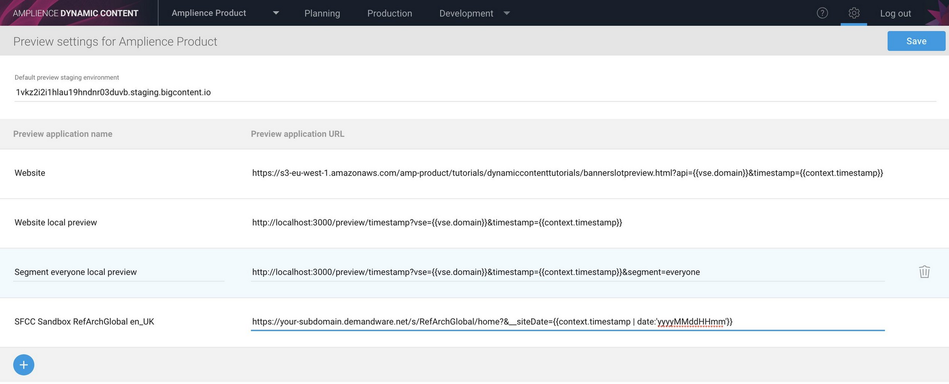 Configuring a content preview to launch the SFCC Storefront